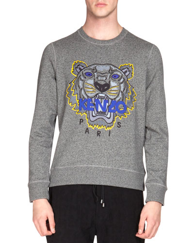 Embroidered Tiger Icon Crewneck Sweatshirt, Gray