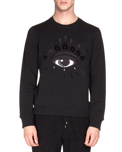 Logo Sweatshirt with Eye Embroidery, Black