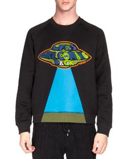 UFO Patch Knit Sweatshirt, Black