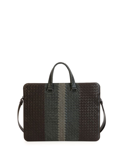 Tricolor Woven Slim Briefcase, Brown/Gray