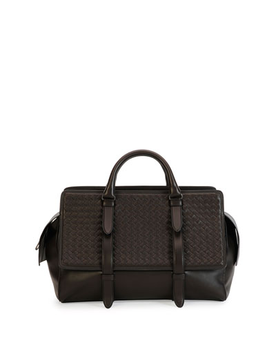 Monaco Woven Leather Runway Bag, Brown
