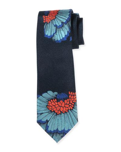 Floral-Print Textured Tie, Blue