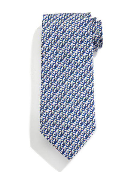 Greyhound Dog-Print Tie, Blue/Coral