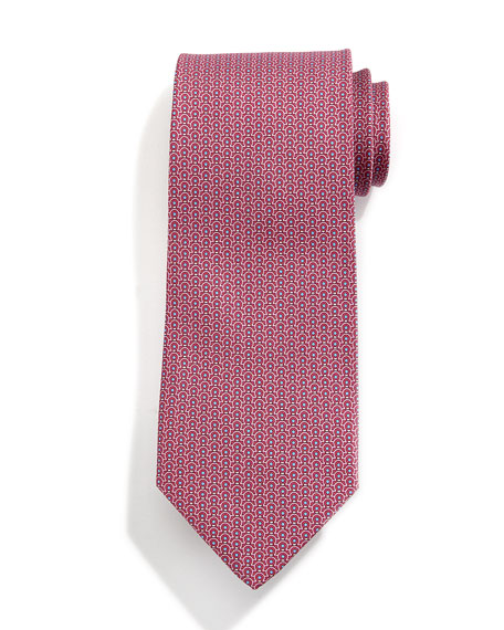 Gancini-Print Silk Tie, Red/Yellow