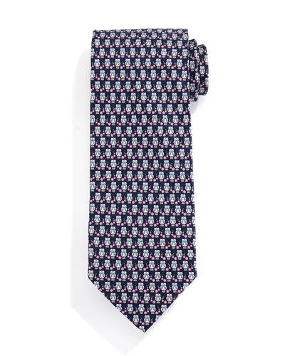 Owl-Print Silk Tie, Gray/Pink