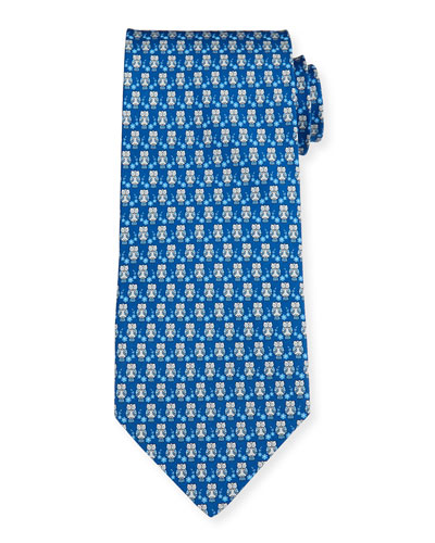 Owl-Print Silk Tie, Light Gray/Blue