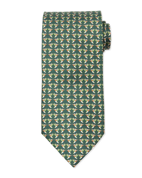 Hummingbird-Print Silk Tie, Green