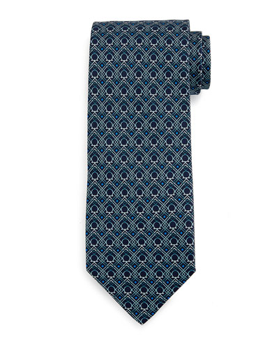 Large-Gancini Print Silk Tie, Green/Blue