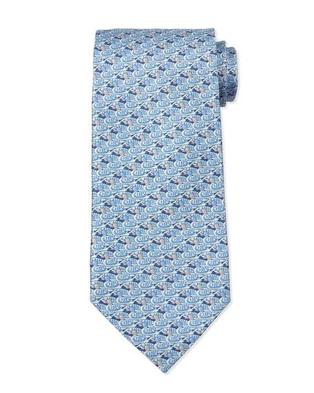 Duck-Print Silk Tie, Light Blue