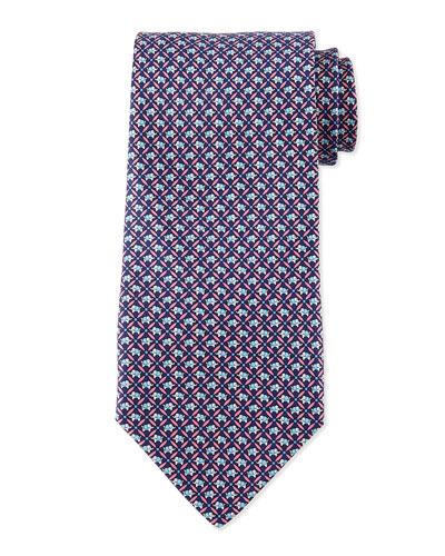 Elephant-Print Silk Tie, Red/Blue