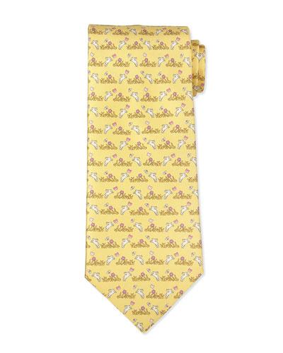 Bunny-Print Silk Tie, Yellow