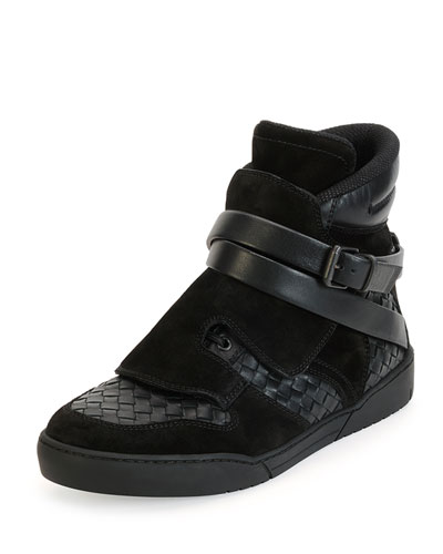 Hawk Woven High-Top Sneaker with Buckle Closure, Black