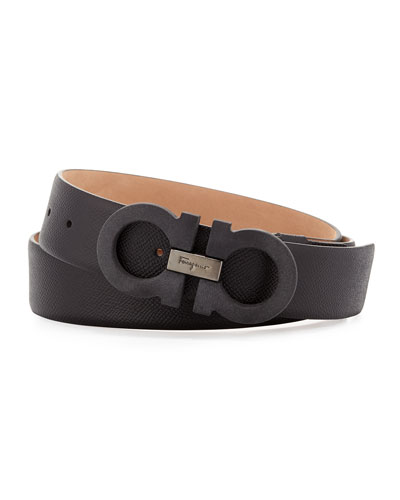 Double-Gancini Leather Belt, Black