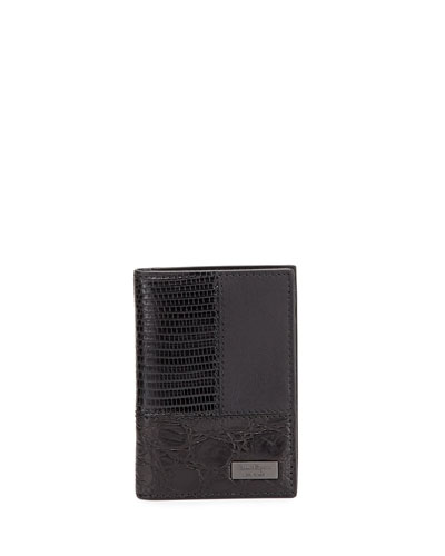 Patchwork Bi-Fold Card Case, Black