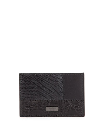 Patchwork Flat Card Case, Black