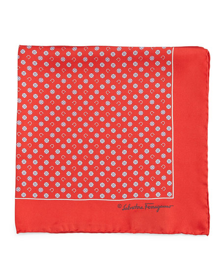 Gancini & Medallion-Print Pocket Square, Red