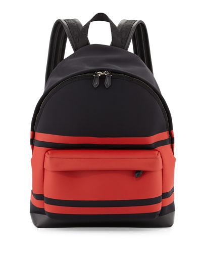Striped Neoprene Backpack, Black/Red