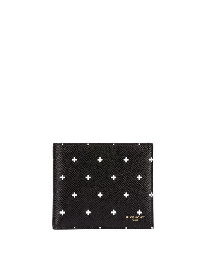 Cross-Pattern Bi-Fold Wallet, Black/White