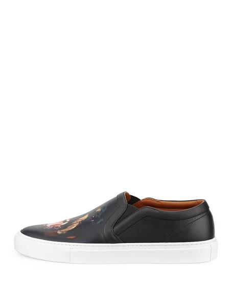 Rottweiler-Print Leather Skate Shoe, Black