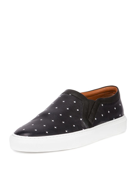 Cross-Pattern Leather Skate Shoe, Black/White