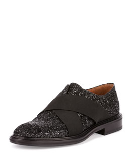 Glitter Slip-On Shoe with Nylon Bands, Black