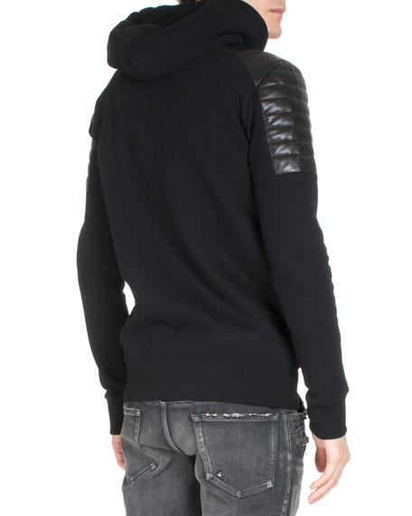 Long-Sleeve Zip Combo Hoodie, Black