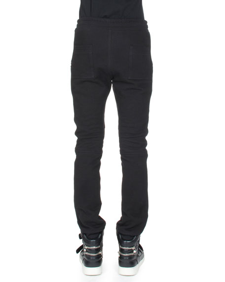 Moto Sweatpants w/Leather Trim, Black