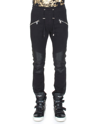 Moto Sweatpants w/Leather Trim, Black