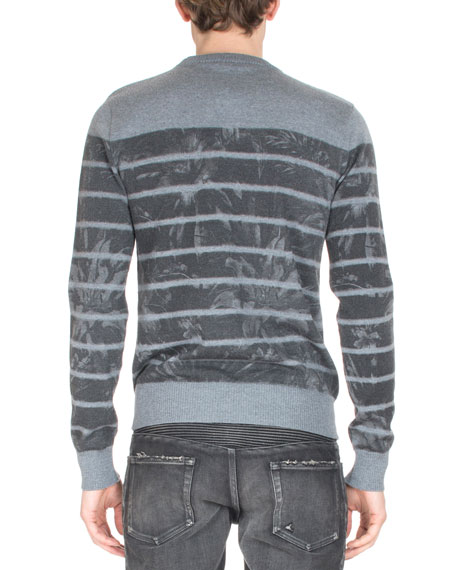 Floral-Print Stripe Sweater, Gray