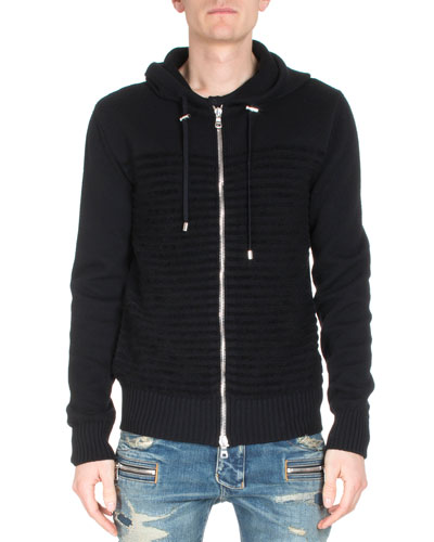 Striped Long-Sleeve Zip-Up Hoodie, Black