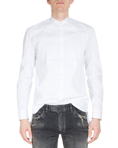 Banded-Collar Pleated-Front Tuxedo Shirt, White