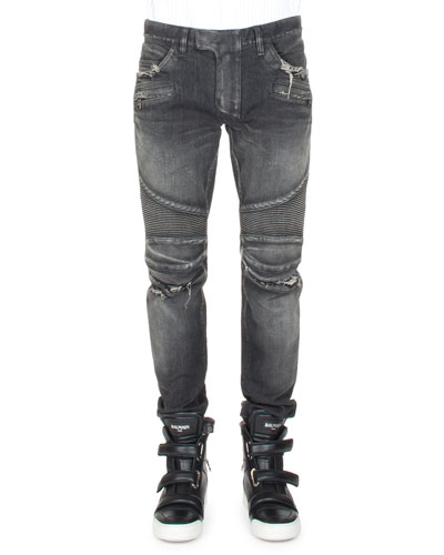 Distressed Slim-Leg Moto Denim, Black