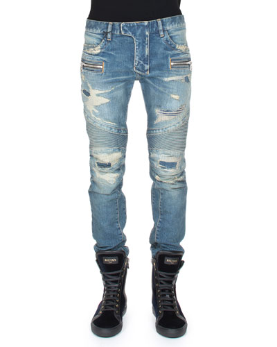Distressed Slim-Leg Moto Denim, Blue