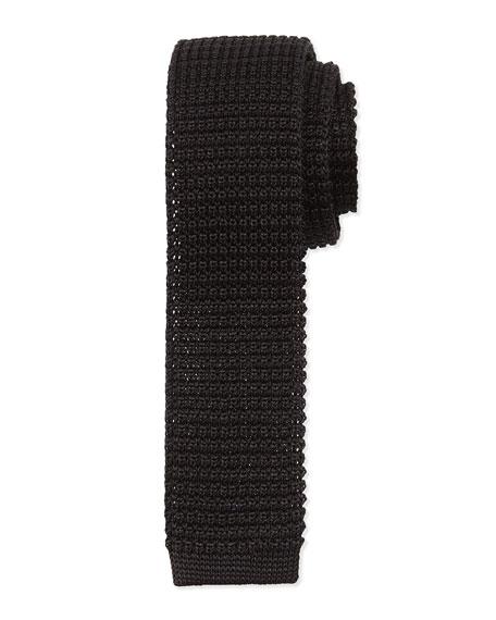 Lanvin Knit Silk Tie, Black