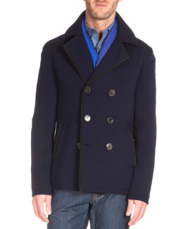 Double-Breasted Knit Pea Coat, Indigo