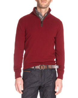 Suede Detail Quarter-Zip Sweater, Red