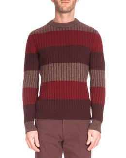 Thick-Stripe Crewneck Sweater, Red