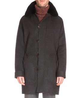 Fur-Trimmed Cashmere Parka Coat, Charcoal