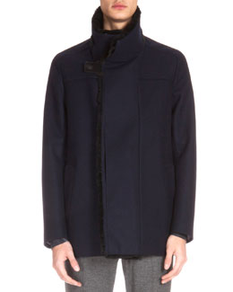 Fur-Lined Wool Jacket, Navy