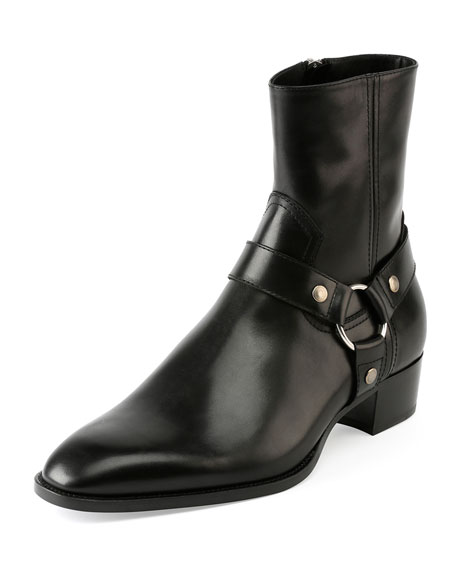 Wyatt Leather Harness Boot, Black