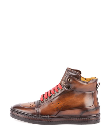 Playtime Leather High-Top Sneaker, Tobacco