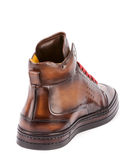 Men's Playtime Leather High-Top Sneakers, Tobacco