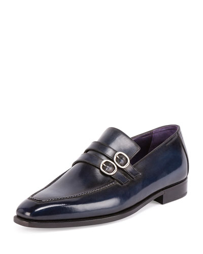 Andy Double-Monk Leather Loafer, Deep Sea
