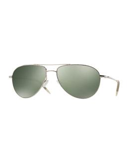 Benedict 59 Aviator Sunglasses, Silver