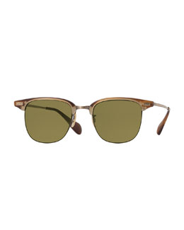 Executive I Half-Rim Sunglasses, Light Brown
