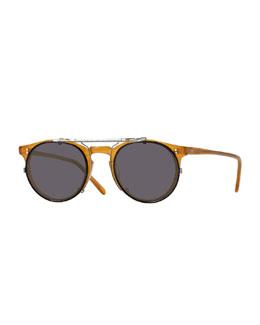 Sir O'Malley 45 Flip-Clip Sunglasses, Pewter