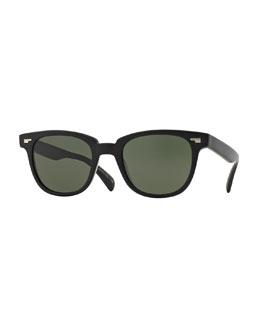 Masek 51 Semi-Matte Acetate Sunglasses, Black