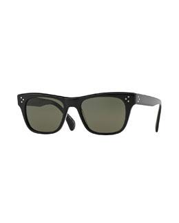 Jack Huston 52 Polarized Sunglasses, Black