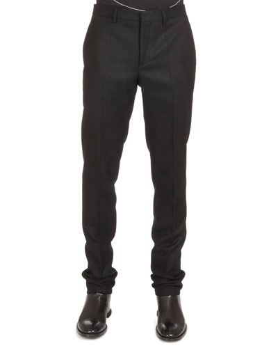Flannel Wool Trousers, Black