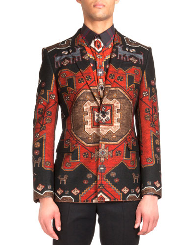 Persian-Print Two-Button Blazer, Red
